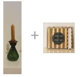 Set: glazen vaasje groen (rozenvaasje) + insteek kaarshouder + 6 kaarsen