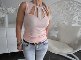 Elegantes T-Shirt mit schönen Dekorsteinen am Dekollete