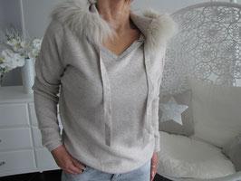Pullover mit Kapuze im Pelz Design - diverse Farben