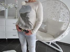 Pullover in einem Mützen-Design mit Knolle