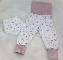 ♥ Babyhose Jersey Wunschgröße zarte Pastellblümchen ♥