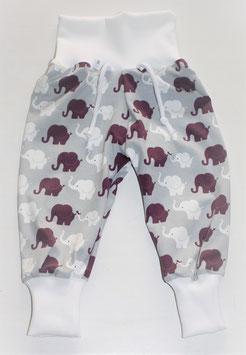 ♥ Babyhose Jersey Wunschgröße Elefanten bordeaux grau weiß ♥