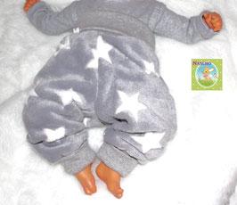 ♥ Babyhose Fleece Sterne grau Wunschgröße ♥