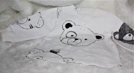 ♥ Baby Langarmshirt Jersey Bären weiß schwarz Gr. 62 ♥