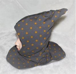 ♥ Zipfel-Schlupf-Mütze Sterne grau senf Gr. 46-50 ♥