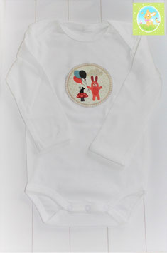 ♥ Baby Langarm Body Gr. 62/68 mit Applikation Hase Ballon ♥