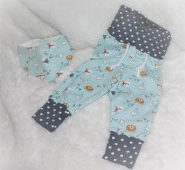 ♥ Babyhose Jersey Bär und Füchslein Gr. 62/68 mit passendem Halstuch  ♥