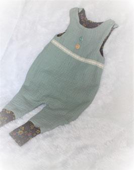 ♥ Baby Strampler Musselin Jersey mint /Blumen Gr. 62 ♥