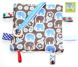 ♥ Knistertuch Elefanten Parade blau N0247 ♥