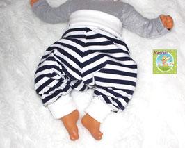 ♥ Babyhose Jersey Wunschgröße Streifen dunkelblau ♥