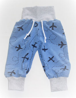 ♥ Babyhose Jersey Flugzeuge Gr. 62/68  jeansblau ♥