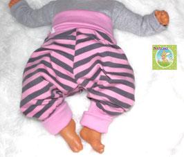 ♥ Babyhose Jersey Wunschgröße Streifen grau rosa ♥