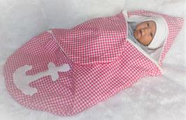 ♥ Einschlagdecke rosa Karo mit Anker Gr. 0-6 Monate  ♥