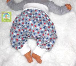 ♥ Babyhose Jersey Wunschgröße Sterne grau bunt ♥