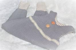 ♥ Baby Strampler Musselin Jersey grau / Streifen beige weiß Gr. 62 ♥