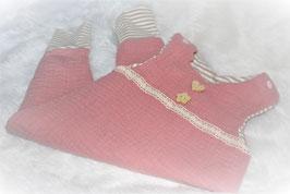 ♥ Baby Strampler Musselin Jersey rosa / Streifen beige Gr. 62 ♥