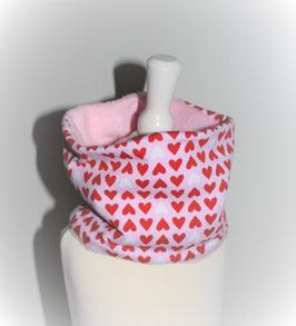 ♥ Loop Herbst / Winter Jersey Herzen rosa rot weiß Wunschgröße ♥