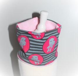 ♥ Loop Herbst / Winter Hippos grau pink rosa Wunschgröße ♥