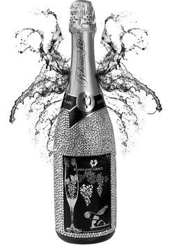 Sektflasche mit 2500 Swarovski Kristallen