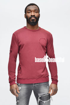 PULLOVER LONG FIT DESTROYED BREAKTHERULES BORDEAUX 100% MADE IN ITALY