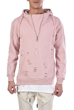 PULLOVER REGULAR FIT XAGONMAN DESTROYED ROSA 100% MADE IN ITALY
