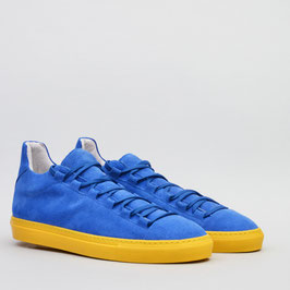 LOWTOP SNEAKER MOSTWANTED BLUE YELLOW 100% HANDMADE IN ITALY