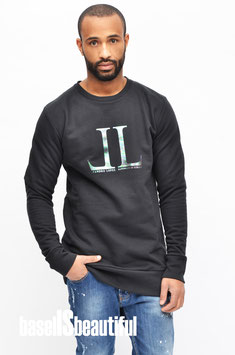 PULLOVER OVERSIZE FIT LEANDRO LOPES SCHWARZ MIT LOGOPRINT 100% MADE IN PORTUGAL