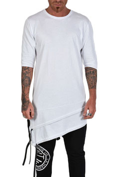 T-SHIRT LONGFIT ASYMETRISCH WEISS 100% MADE IN ITALY