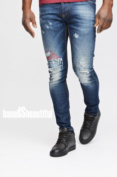 BLUEJEANS SLIMFIT STRETCH DESTROYED RED XAGON MAN 100% MADE IN ITALY