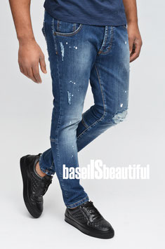 JEANS SLIMFIT STRETCH DESTROYED BLAU BREAKTHERULES 100% MADE IN ITALY