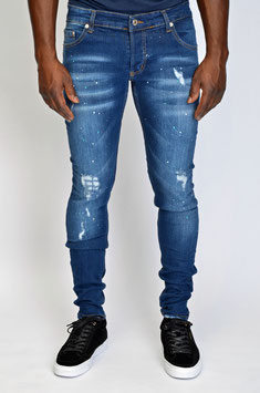 DAILY DEAL! BTR STRETCH LUXURY DENIM LIGHT BLUE WHITE TURQUOISE PINT DESTROYED BLUE LEATHERTAG