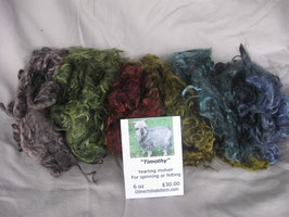 Multi colored dyed silver yearling mohair