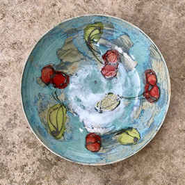 bowl-large cherry on teal