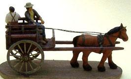 Voiture à cheval avec conducteur et jeune passager (R72506)
