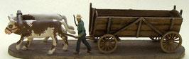 Tombereau avec boeufs et conducteur à pieds (R72505)