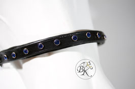 Leather Showhalter with Swarovski Elements (Rivets) in Sapphire