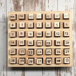 Calender Stamp Set  Wood - Happy Font
