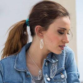 Boucles d'oreilles feuillages rectangulaires