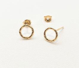Puces d'oreilles cercles texturés dorées