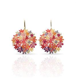 Boucles d'oreilles hortensias colorés