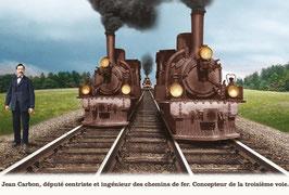 """Carte """"L'inventeur de la troisième voie de chemin de fer"""""""