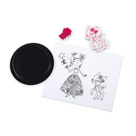 Boîte de tampons jeunes filles et leurs animaux