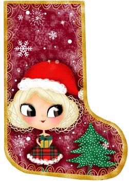Coupon de tissu Chaussette de Noël Lutine en Minky
