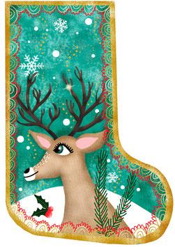 Coupon de tissu Chaussette de Noël Rennes en Coton