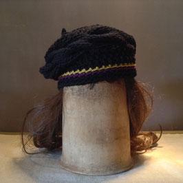 Turban Coton Noir torsade