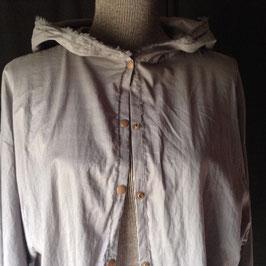 Chemise à Capuche Voile de Coton Gris Fer