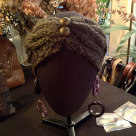 Turban  Gris marron 2 Boutons vieil Or