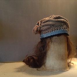 Turban Coton Beige Breloque Perles