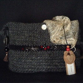 Clutch Brodé Laine Anthracite