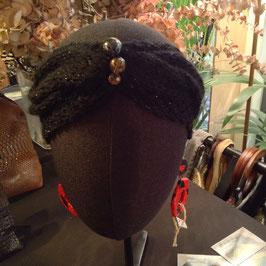 Turban strassé Noir 3 Perles
